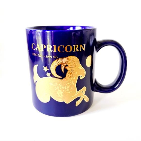 Vintage cobalt blue and gold Capricorn mug